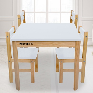 Nu Elwood Square Table & 4 Chairs Set - White