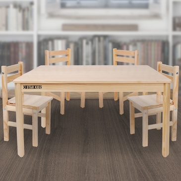 Nu Elwood Rectangle Table & 4 Chairs Set - Natural