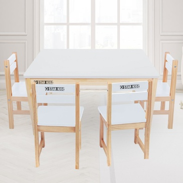 Nu Elwood Rectangle Table & 4 Chairs Set - White