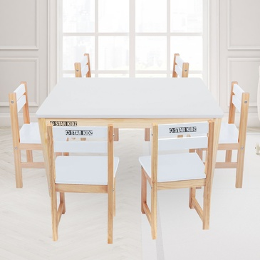 Nu Elwood Rectangle Table & 6 Chairs Set - White