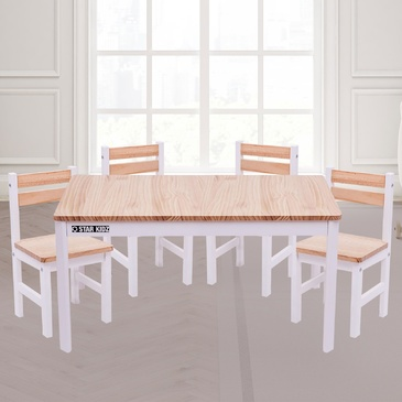 Nu Elwood Rectangle Table & 4 Chairs Set - Inverted White