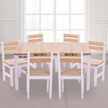 Nu Elwood Rectangle Table & 6 Chairs Set - Inverted White