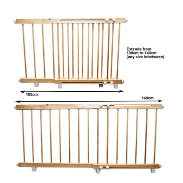Wooden Door Barrier - Child Safety Barrier 100cm to 140cm