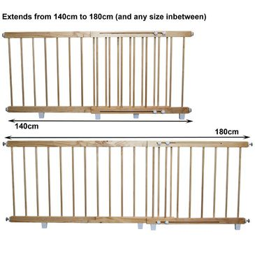 Wooden Door Barrier - Child Safety Barrier 140cm to 180cm