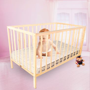 TikkTokk Little BOSS Cot - Natural with SleepEezi Mattress