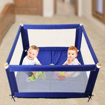 POKANO Square Fabric Baby Playpen & Mat - BLUE