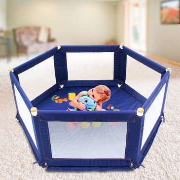POKANO Hexagonal Fabric Baby Playpen  &  Mat - BLUE