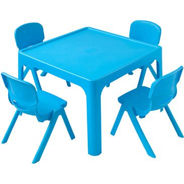 Childrens Table + 4 Chair Set Resin Plastic Stackable BLUE Kids Furniture