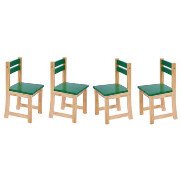 Green Kids Wooden Chair (Set of 4 Kids Chairs) | CLEARANCE STOCK