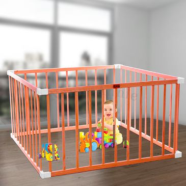 TikkTokk BOSS Wooden Square Playpen | Child Toddler Play Pen in Natural Timber