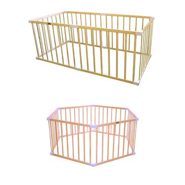 Baby Playpen 2 in 1 Space Saving Wooden Play Pen