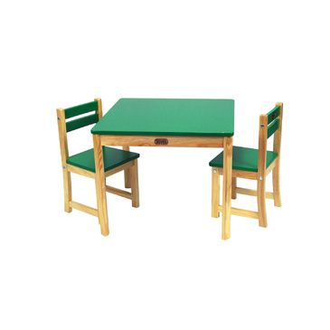 Childrens Square Unisex BOSS Table + 2 Chairs Dining Furniture Set for Kids GREEN