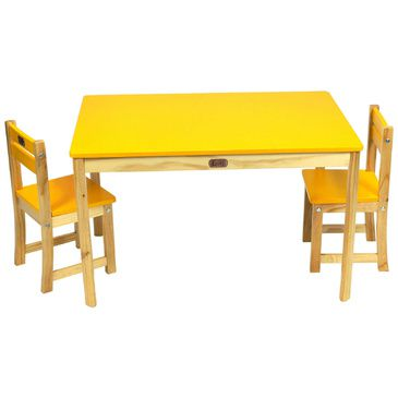 Childrens Wood Rectangle Activity Play Table + 2 Chairs BOSS Kids YELLOW