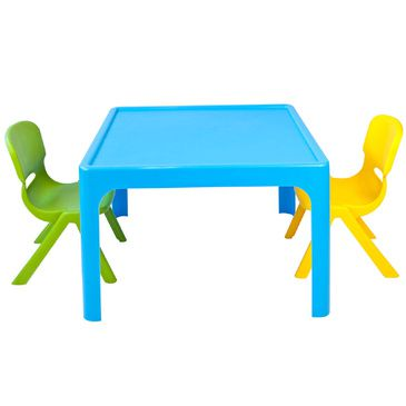 Childrens Table + 2 Chair Set Resin Plastic Stackable BLUE GREEN YELLOW Kids Furniture