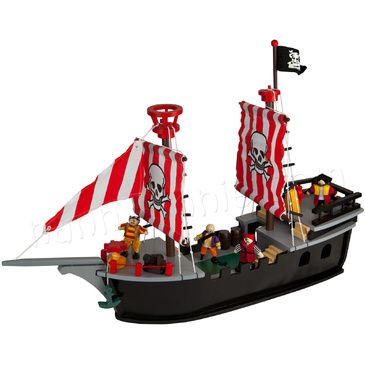 Kids Wooden Painted Pirate Ship Play Set - Includes dolls and Accessories
