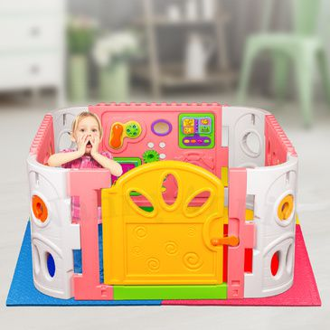 Pink Interactive Playpen and EVA Mat | Playpen with safety Mat