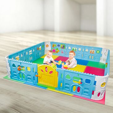 EVA Safety Mat and Baby Playpen With Door - Super Giant Interactive Play Room 2.3 x 2.3m