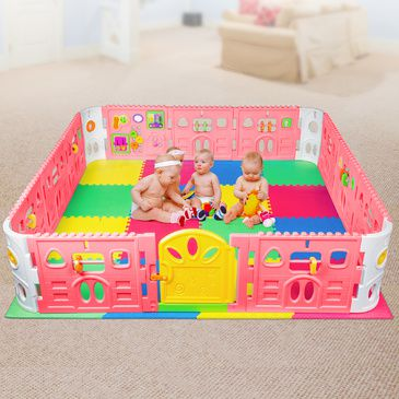 EVA Safety Mat And Baby Playpen With Door - Super Giant Interactive Play Room 2.3 x 2.3m - Pink