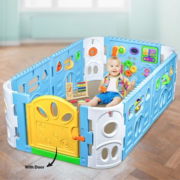 Baby Playpen with Door - Rectangle Interactive Play Room 1.6 x 1m