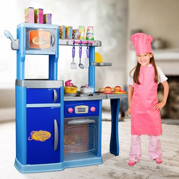 Kids-Childrens Pretend Play Role Play Kitchen - with Lights and Sound & Utensils