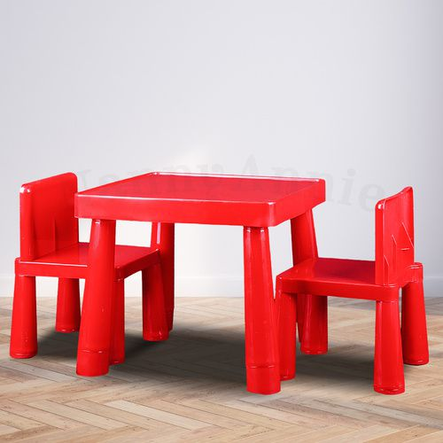 Kids Table & Chair Play Furniture Set Plastic Fountain Activity Dining Chairs RED