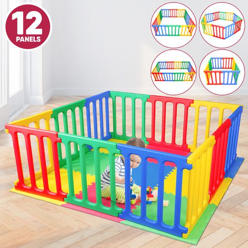 Happy Panel Plastic Playpen And EVA Mat | Jumbo Square 1.65m x 1.65m Kids Playpen