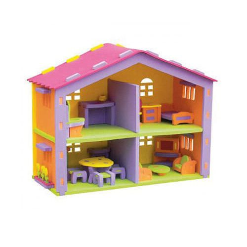 Childrens Doll House Soft EVA Foam with Miniature Furniture 2 Storey DollHouse