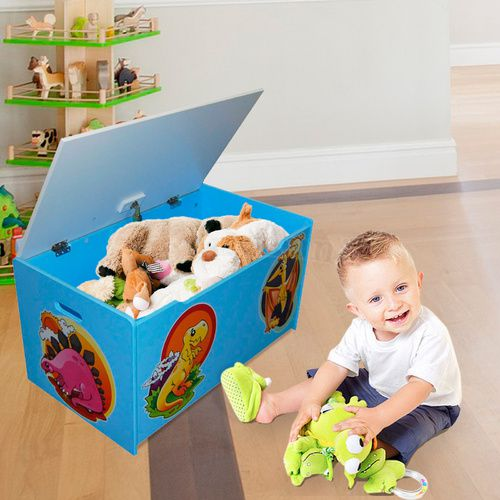 Children's Toy Box - Dinosaurs | Light Blue | Wooden Toybox