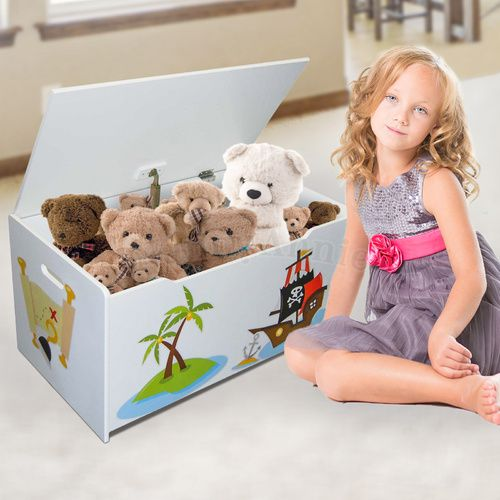 Children's Toy Box - Pirates | White | Wooden Toybox