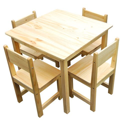 Sophia Solid Timber Wood Square Table & 4 Chairs Set - Natural