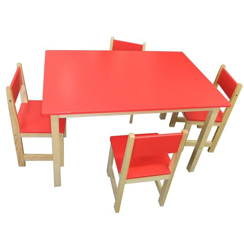 Wooden Rectangle Table + 4 Chairs Set- RED