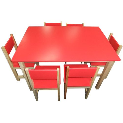 Wooden Rectangle Table + 6 Chairs Set - Red