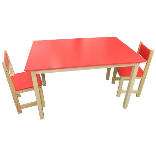 Wooden Rectangle Table + 2 Chairs Set- RED