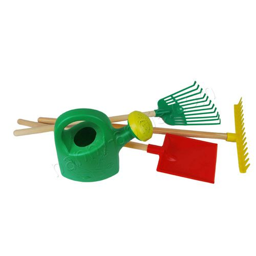 Kids Children Garden Tool Set 4 pce GREEN Watering Can Rake Shovel Wood Handles