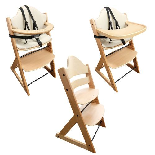 Wooden Baby High Chair 3in1 Highchair With Tray And Bar