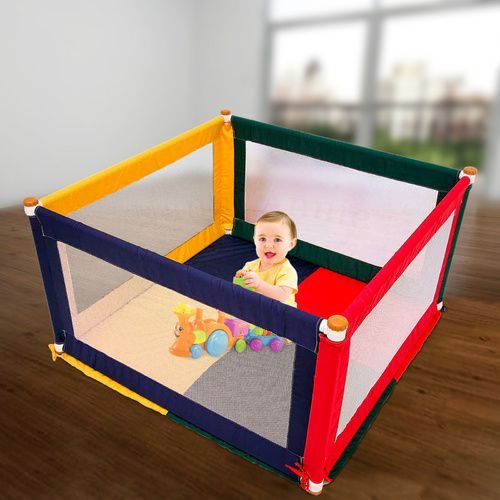 POKANO Square Fabric Baby Playpen &  Mat - COLOUR