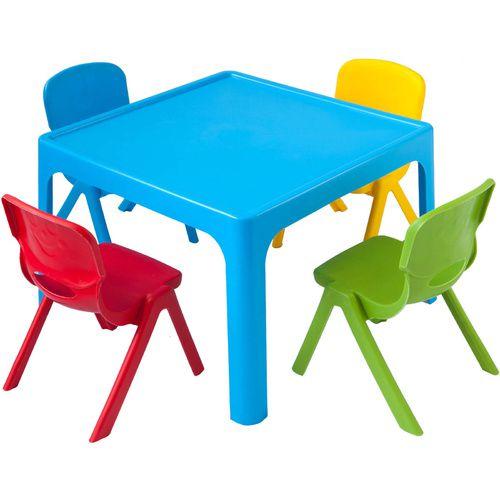 Kids Childrens Plastic Indoor Outdoor Play Activity Party Table + 4 Chairs Set
