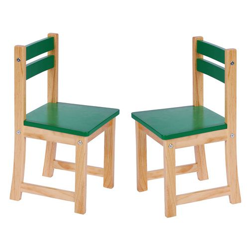 Green Kids Wooden Chair (Set of 2 Kids Chairs) | CLEARANCE STOCK