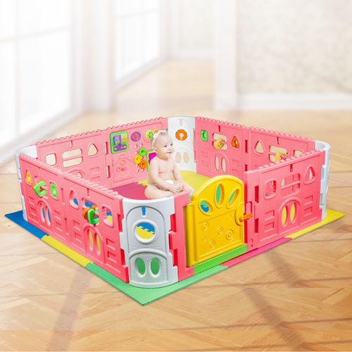 EVA Safety Mat And Baby Playpen with Gate and Activities 1.6m Square - Pink