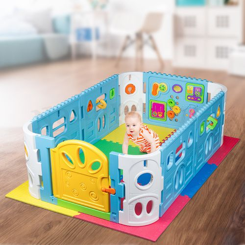 EVA Safety May And Baby Playpen with Door - Rectangle Interactive Play Room 1.6 x 1m