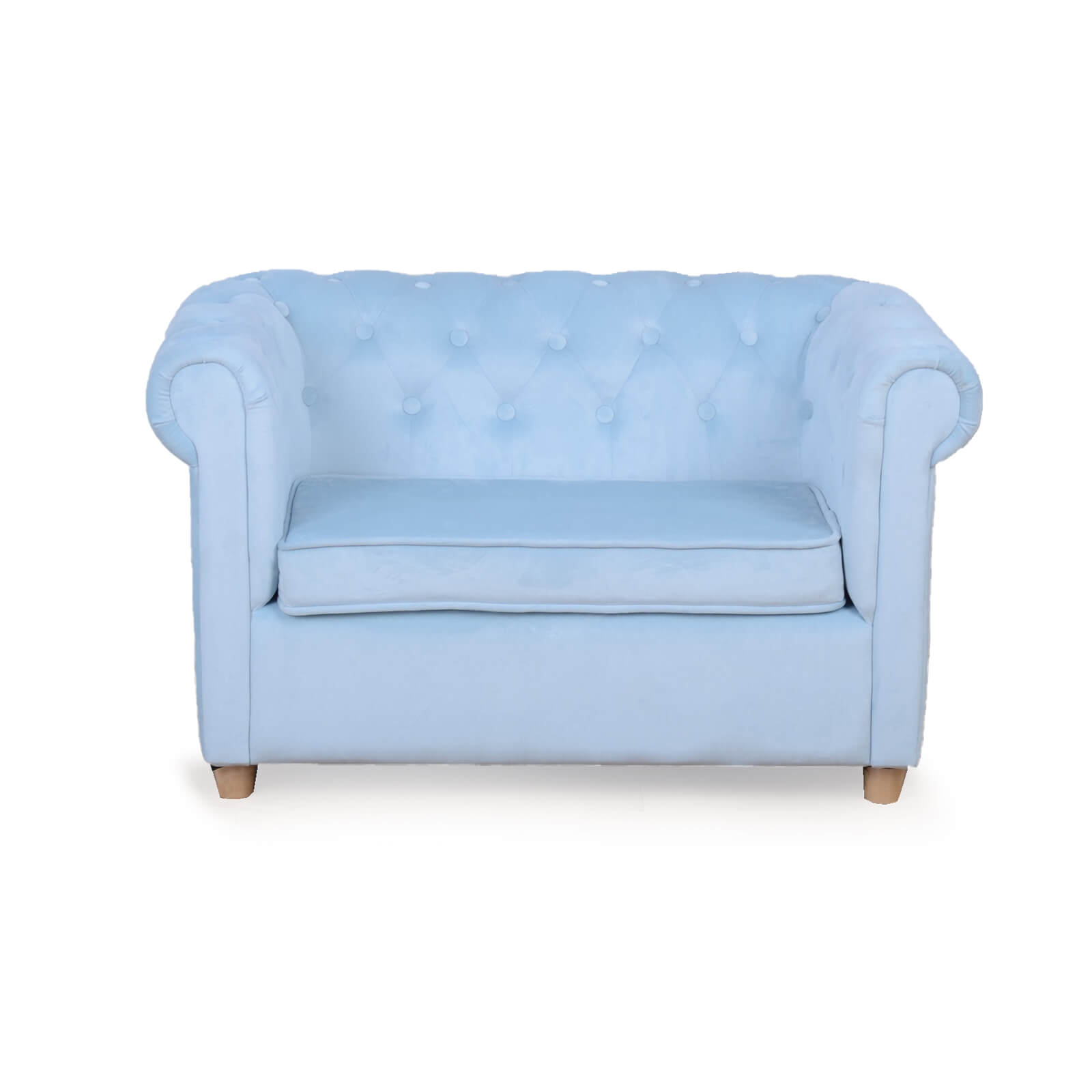 Star Kidz Chesterfield Sofa - light Blue Velvet