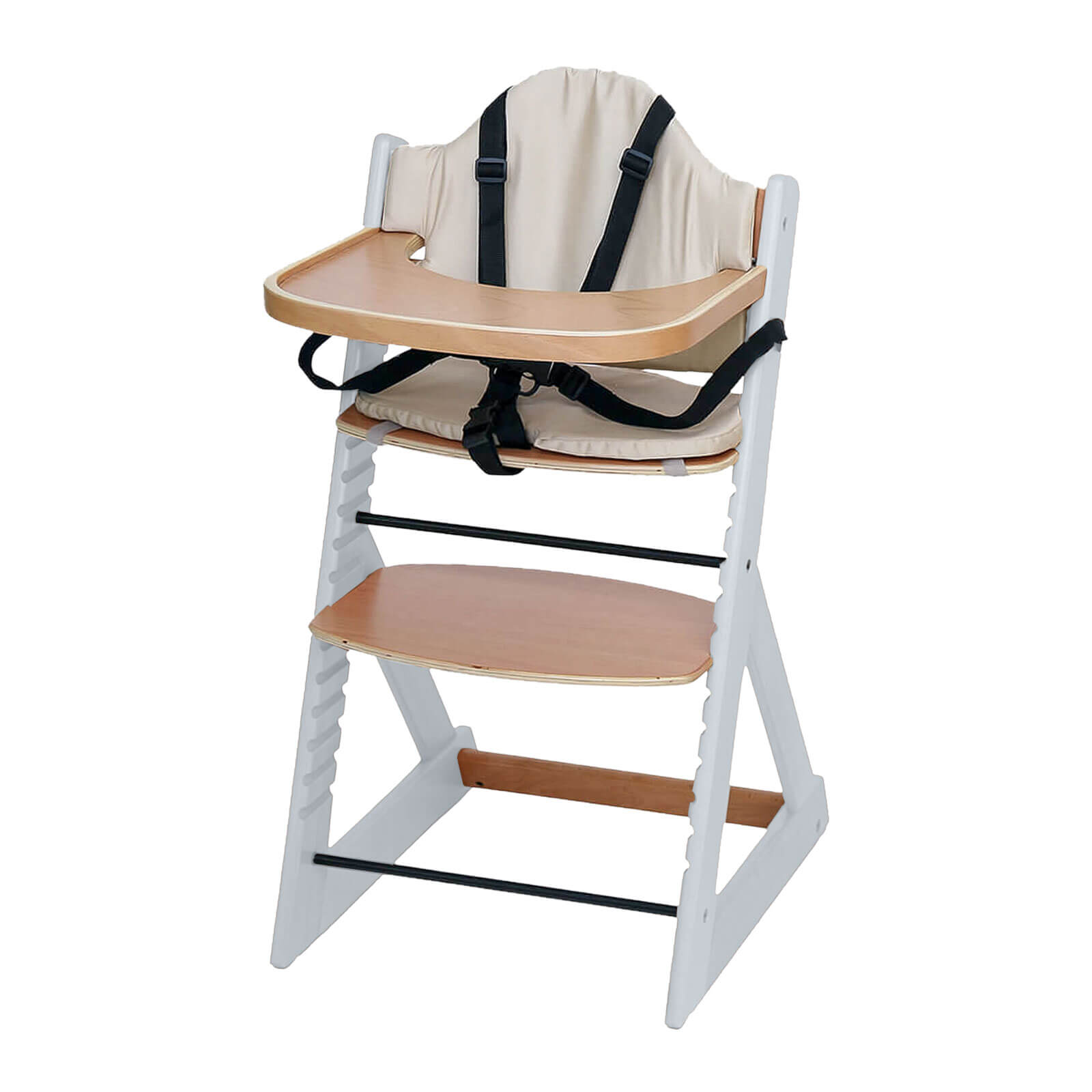 Wooden Baby High Chair | 3in1 Highchair with Tray and Bar ...