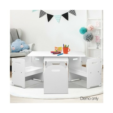 Ruby Kids Table and Chair Set - White