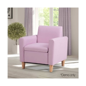 Turin Kid's PU Leather Arm Chair - Pink