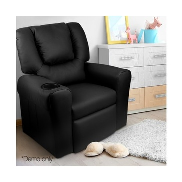 Rome Kid's PU Leather Reclining Arm Chair - Black