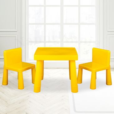 Kids Table & Chair Play Furniture Set Plastic Fountain Activity Dining Chairs YELLOW