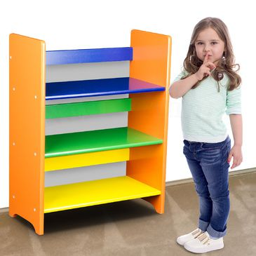 Childrens Wooden Book Shelf Multicoloured Kids Shelf Storage