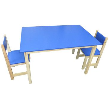 Jay Wooden Rectangle Table + 2 Chairs Set- BLUE