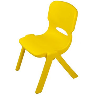 Plastic Resin Stackable Childrens Play Dining Chair Yellow Kids Party