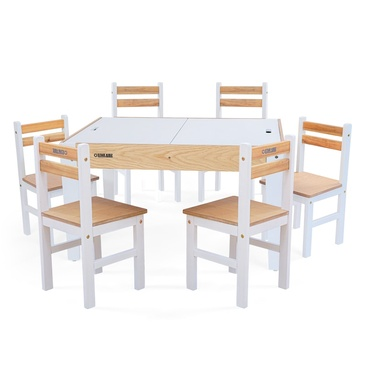 Nu Byron Activity Rectangle Table & 6 Chairs Set - Inverted White